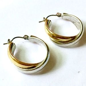 Mixed metal hoop earrings vintage